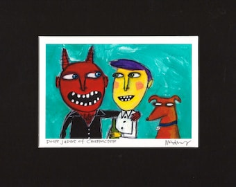 Poor Judge of Character - Art Print, dog and the devil by Murphy Adams