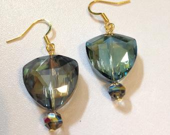 Crystal Earrings Blue & Gold Boho Bridal