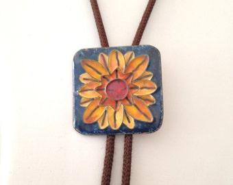 Copper Enamel Bolo Tie Vintage 60s Sunflower