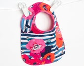Baby Girl Bib Adjustable Reversible Bib with Minky for Toddler Girls - Skopelos Paparounes Crimson