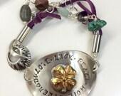 Love luck hope peace strength four leaf clover boho bracelet