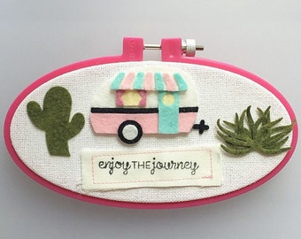 Enjoy the Journey - Felt Hoop Art