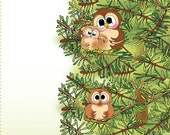 "6"" x 12"" Owls - Life is Good Fabric Art Panel"
