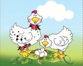 "4"" Chickens Fabric Art Panel"