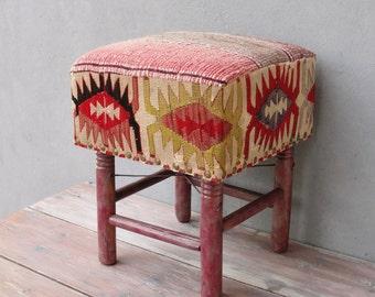 Kilim Ottoman, Kilim Pouf Bohemian Wooden Furniture Vintage Kilim Hand woven, Global Textile, Rustic details