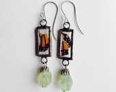 Too Pieces, Monarch Butterfly Wing Earrings with Prehnite