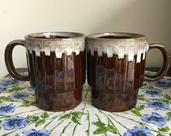 Vintage Drip Glaze Pottery Mugs, Pair Brown Stacking Coffee Cups Made in Japan