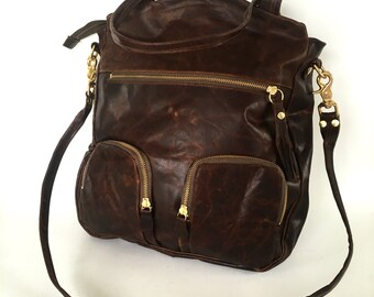 Tall macbook Shikotsu leather bag in antique brown