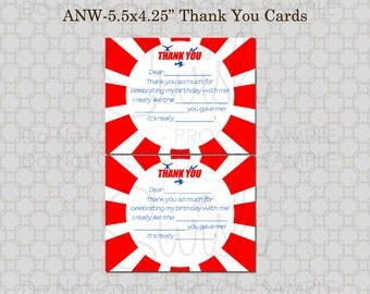 American Ninja Warrior Blue - Fill-in-the-Blank 5x7 printable Thank you card - INSTANT DOWNLOAD