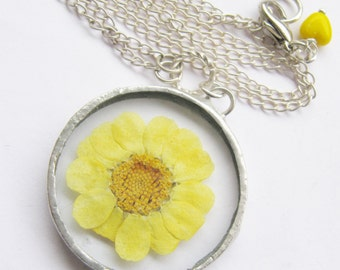 yellow daisy necklace - yellow flower necklace - real flower necklace - spring necklace - statement necklace