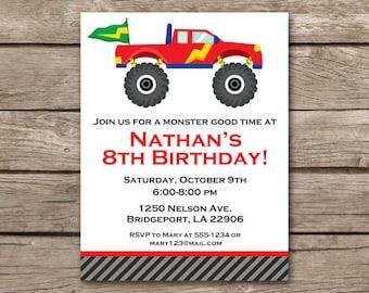 Monster Truck Invitation, Monster Truck Birthday, Monster Truck Party, Truck Party Invitation, Truck Birthday Party, PRINTABLE