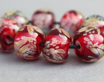Red & Butterscotch Boro Beads