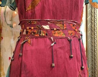 Ancestry Cloth Obi Belt #3 - One of a Kind Wearable Fine Art by Dawn Patel Art, fiber art, vintage sari silk and organic linen silk, leather