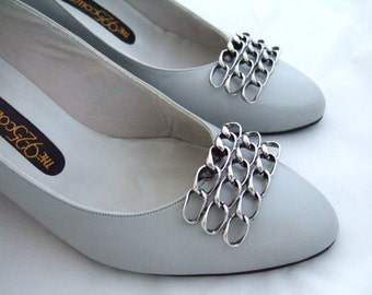 Vintage Antique Silver Musi Shoe Clips Statement Shoe Accessories Elegant Openwork Chain Cool Gifts for Her Gift Under 20 Christmas Gift