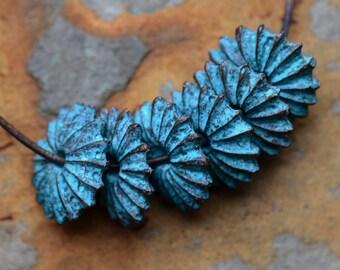 Sea Urchin Bead (19mm) 1 piece, Greek Casting - Green Patina, Low Shipping