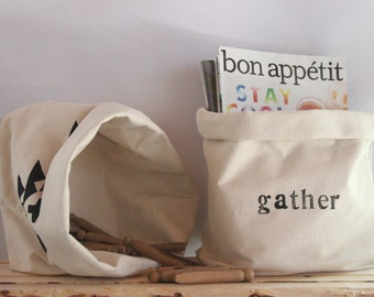 SET of 2 Storage Baskets / Gather / Polka Dot / Fabric Storage Basket / Nursery Storage / Baby Shower Gift