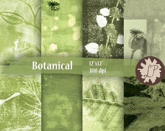 Botanical Printable Paper, green digital paper, nature inspired planner paper, green background, garden journal scrapbooking by LIZPLUMMER