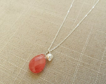 Handmade Peach/Pink Tear Drop Gemstone Sterling Silver Necklace with Fresh Water Pearl