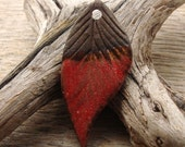 LEAF PENDANT - Red and Chocolate Brown Pendant - Handmade Ceramic Pendant