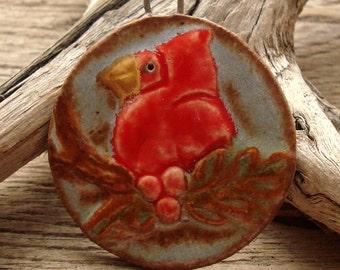 PERCHED CARDINAL - Ceramic Pendant - Original Design-Handmade Ceramic Pendant-#1