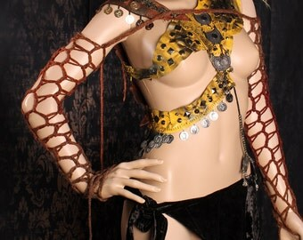Apocalyptic Arm Warmers. long fishnet Sleeves, Reddish Brown Apocalypse Shrug, Tribal Belly Dance, Gothic Summer Fashion, Wasteland, glitter