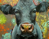 Cow painting animals 1067  24x30 inch original portrait oil painting by Roz