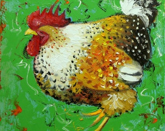 Rooster 777 12x12 inch animal portrait original oil painting by Roz