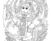 Coloring Page Instant Download Alice in Wonderland