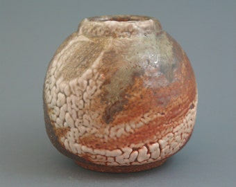 Ikebana Vase, wood-fired stoneware w/ crawling shino, oribe and natural ash glazes