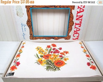 ON SALE Vintage Vinyl Placemats Set In Box Orange Flowers Floral Fantacy Town & Country