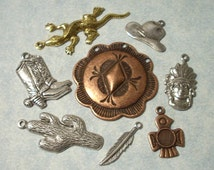 8pc Western Charms, Cowboy Charms, Memory Book Embellishment, Brass Stampings, Scrapbooking Charms, Greeting Card Embellishments