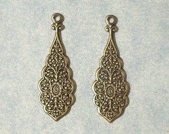2 Antique Brass Stampings , Brass Earring Drops, Earring Components, Earring Dangles
