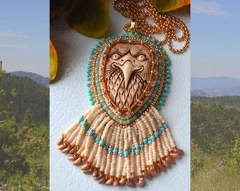 Handmade Beaded Eagle Head Cabochon Necklace