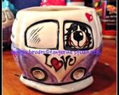 whimsical ceramic love bus valentines hand painted bernese mountain dog VW BUS mug love original maggie brudos tangerine studio