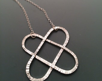 RESERVED Double Heart Textured Sterling Silver Pendant with Link Chain