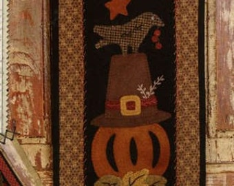 Primitive Folk Art Wool Applique Pattern - Basin Banners Thru the Year - November Pilgrim Hat & Pumpkin