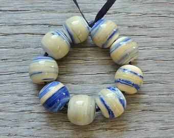 30% off - Bright lapis ivory - Lampwork beads by Loupiac