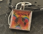 COEXIST Pendant Square Resin Diversity Necklace Silver Snake Chain