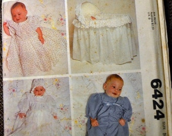 ON SALE Sewing Pattern McCall's 6424 Infants' Christening Dress Crib Cover Size Newborn 7 1/2 pounds Uncut  Complete