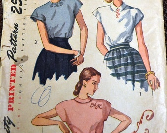 Vintage 1948 Sewing Pattern Simplicity 2311 Misses' Blouses Bust 32 Inches Complete