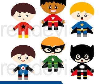 Superhero clipart, Superhero emotion boys digital clip art, commercial use clipart