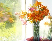 Orange Lily Photograph,  Flower Still Life Photography, Colorful Wall Art, Floral Decor