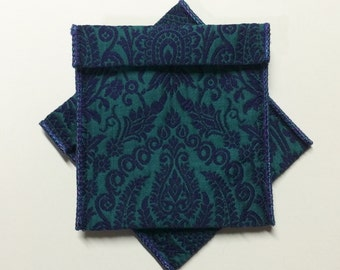 Jewelry Bead Pouches - 8 blue green baroque damask 4 x 3 1/2 flocked