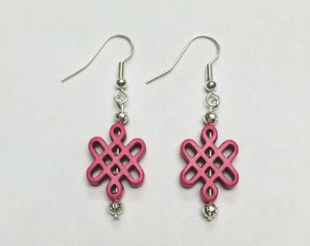Pink Turquoise Celtic knot earrings