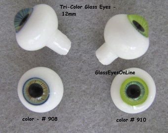 1 PAIR 12mm Solid Glass Doll Eyes Triple Colors for Dolls, Fairy, Ooak, Sculptures, Bisque, Polymer Clay, Sculpture,  ( TCDE )