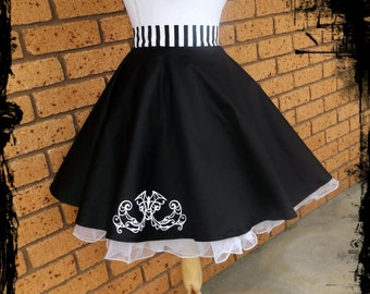 Vampire Bat Black and Whitestripe Full Circle Skirt Size Large - Ready to Ship - Rockabilly Gothic Swing