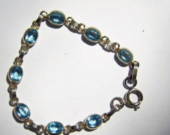 Vintage 12 Kt Gold FIlled Link Bracelet with Faceted Topaz Blue Stones