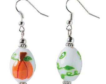 Pumpkin Lampwork Glass Earrings