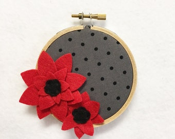 Flower Wall Art, Embroidery Hoop Art, Red Bloom, Floral Wall Decor, Hoop Wall Hanging, Felt Flower Hoop, Wedding Decor