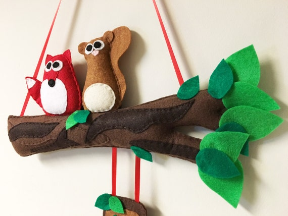 Name Branch, Felt Branch, Name Tag, Welcome Sign Forest Friends - Custom Color and Name, Nursery, Door Sign, Entry Sign